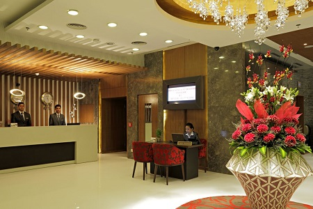 Inviting hotel lobby in Delhi Saket with a reception desk