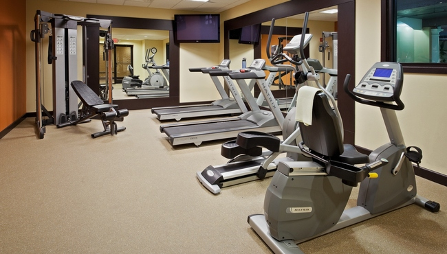 Exercise machines and a TV in the fitness room