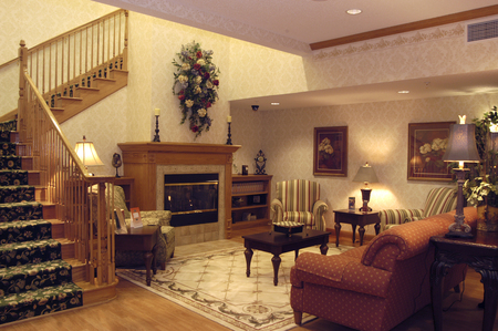 Lobby with a fireplace at our hotel in south Indianapolis