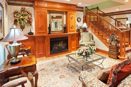 Michigan City hotel's lobby with fireplace
