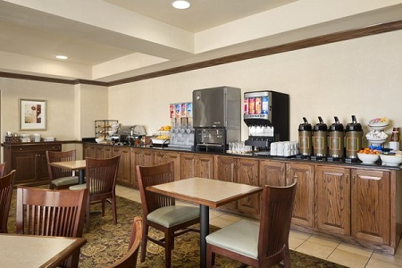 Cereal, juice and coffee stations at our hotel's free, hot breakfast