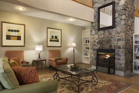 Georgetown hotel lobby with stone fireplace