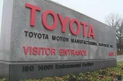 Toyota Visitor Center exterior entrance sign