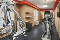 Hotel's fitness center with bike and weight machine