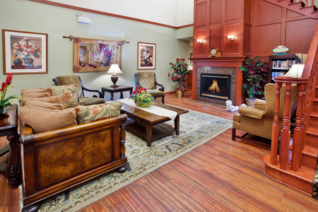 Lobby with a fireplace at Hagerstown hotel