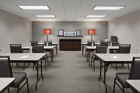 Modern meeting space with classroom setting