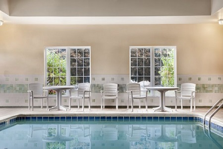 Heated indoor pool with seating