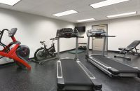 Fitness center with two treadmills, a recumbent bike and free weights