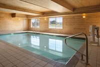 Indoor pool area with wooden walls and ceilings