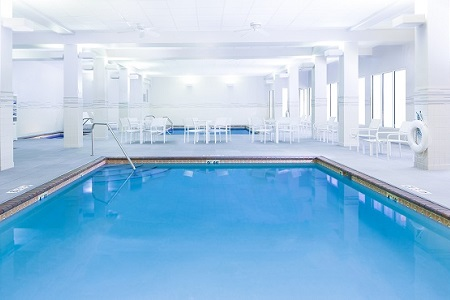 Hotel's indoor pools with plenty of seating