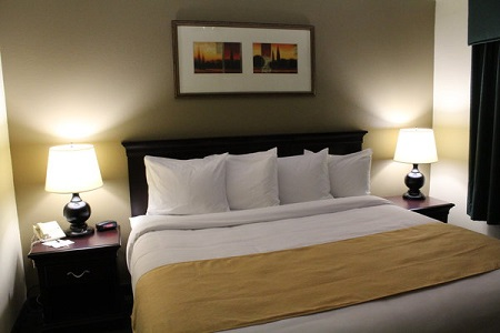 King hotel suite near Minneapolis includes nightstands and lamps