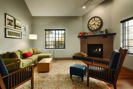 Welcoming lobby with comfortable seating and fireplace