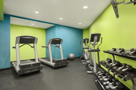 Fitness center with free weights and treadmills