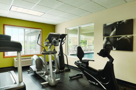 Fitness center with a treadmill, stationary bike and ellipticals