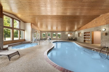 Organically shaped indoor pool at our Northfield hotel