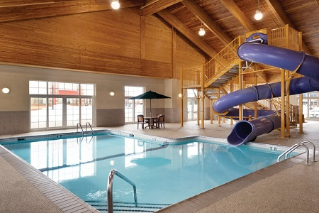 Hotel's pool and waterslide near Twin Cities