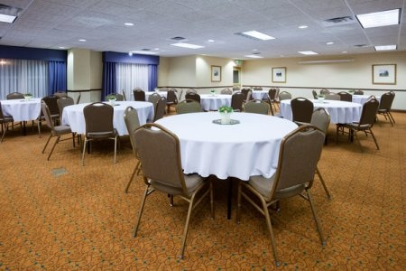 Hotel's event space with banquet tables in Shoreview, MN