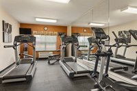 Exercise equipment and mirrors in the fitness center