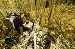Cyclist sitting with bike in autumn woods