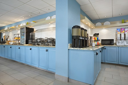 Blue cabinets with breakfast items
