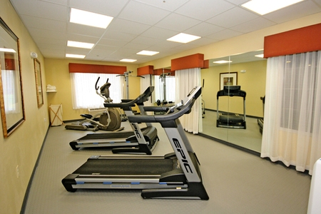 Cardio equipment in hotel fitness center