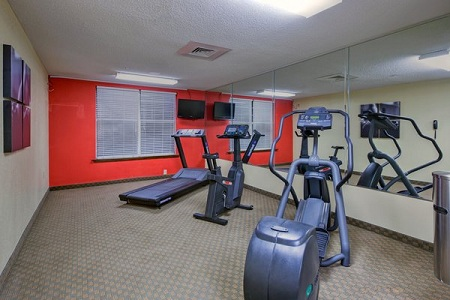 Fitness center with mirrored wall and modern equipment