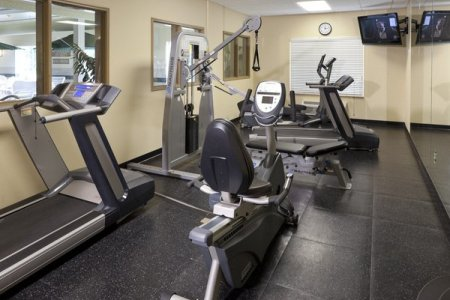 Hotel's fitness center with treadmill and weight machine
