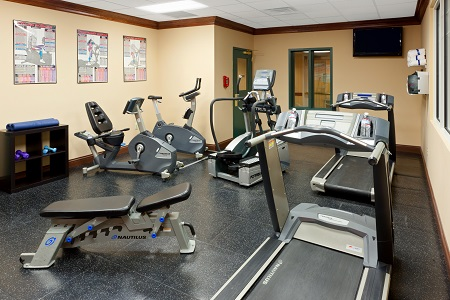 Hotel fitness center with treadmills and stationary bikes