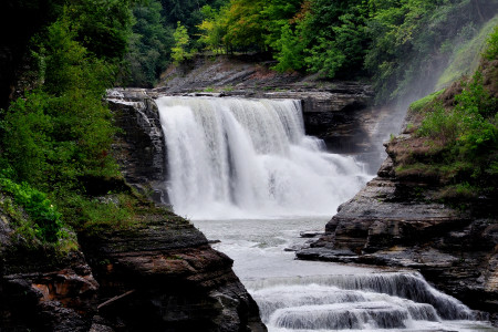 Waterfall and foliage in Letchworth State Park
