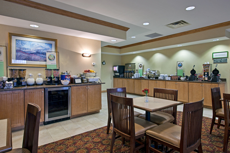 Complimentary, hot breakfast in the dining area