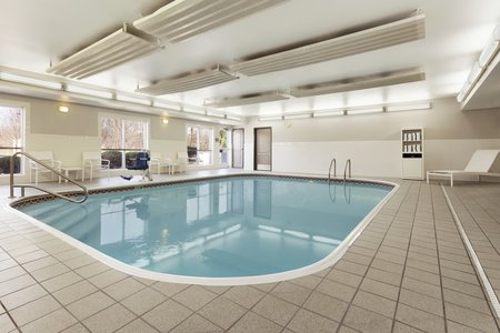 Sparkling indoor swimming pool at our Columbus hotel