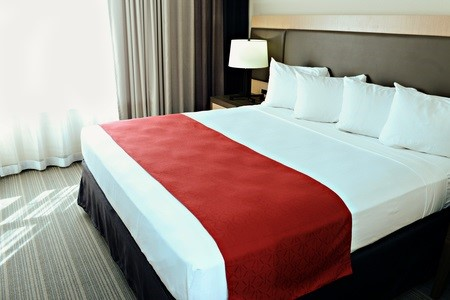 Fairborn hotel room featuring a king bed with red accents