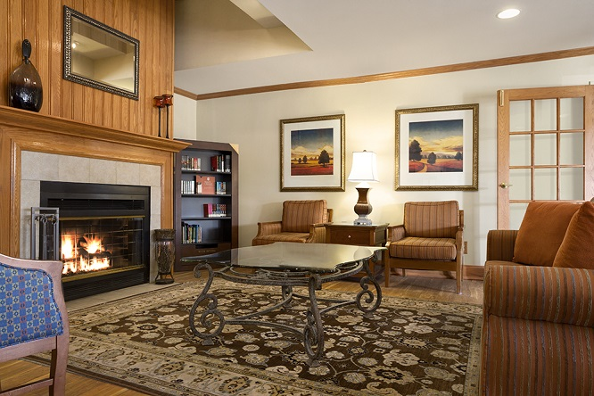 Hotel lobby with a fireplace