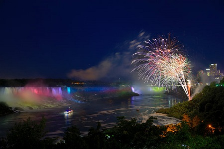 Fireworks display at Horseshoe Falls in Niagara Falls, ON
