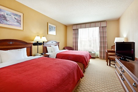 Spacious Harrisburg-area hotel room with two queen beds