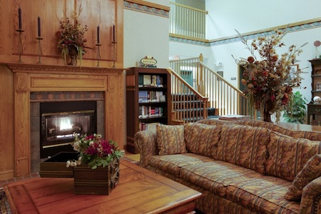 Hotel lobby with a sofa, a fireplace and a library