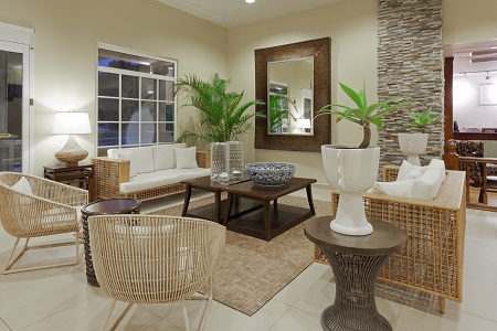 Inviting hotel lobby with comfortable seating in Panama City
