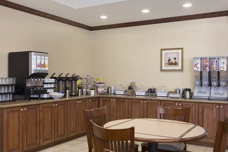 Coffee, juice and cereal on the breakfast bar in the dining room