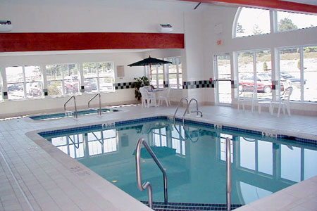 Indoor pool and hot tub area with lots of natural light