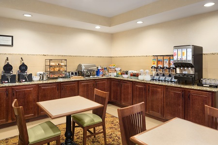 Breakfast area with waffle-makers, coffee station and more