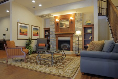 Warm, inviting lobby with fireplace