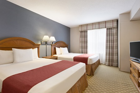 Myrtle Beach hotel guest room with two queen beds
