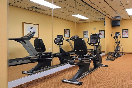 Fitness center with stationary bike and elliptical