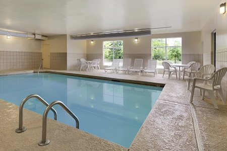 Rectangular indoor pool at hotel in Sumter, SC