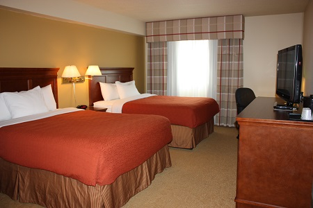 Regina hotel's spacious rooms with double queen beds