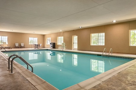 Indoor pool with natural lighting from large windows
