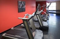 Knoxville hotel's fitness center with treadmill and eliptical