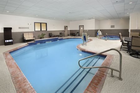 Heated indoor pool and hot tub in Humble
