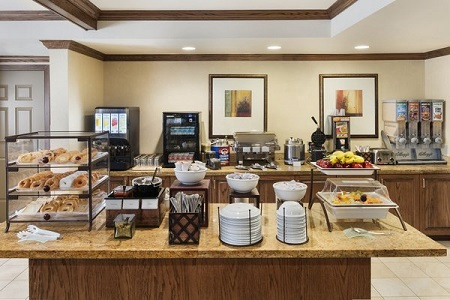 Breakfast area with pastries and fresh fruit