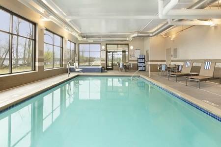Indoor swimming pool with views of the Bemidji River